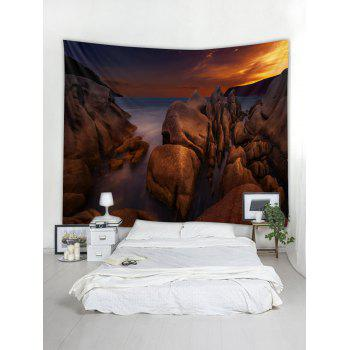 Sea Rock Sunset Printed Tapestry Wall Hanging Decoration - DEEP BROWN W79 INCH * L59 INCH