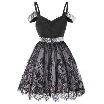 Sequin Panel Vintage Lace Dress - BLACK XL