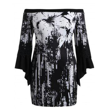 Plus Size Splatter Paint Floral Bell Sleeve Dress - BLACK 4XL