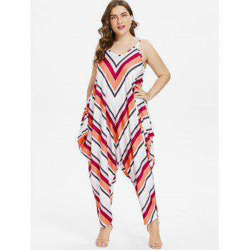 Plus Size Chevron Baggy Jumpsuit - multicolor 4X