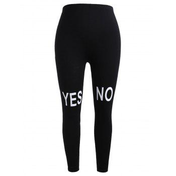 Plus Size Knee Letter Print Leggings - BLACK 1X