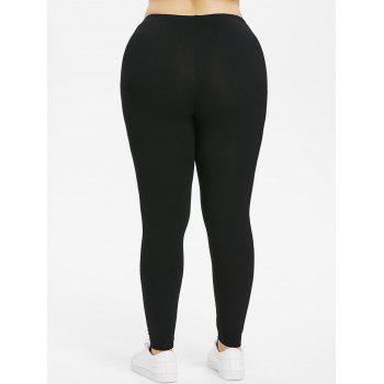 Plus Size Knee Letter Print Leggings - BLACK 2X