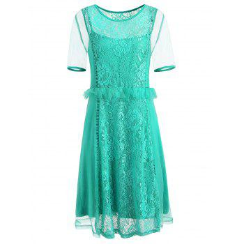 Plus Size Lace Panel Flounced Mesh Dress - MEDIUM TURQUOISE L