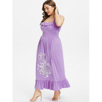 Plus Size Floral Smocked Waist Maxi Dress - PURPLE 4X