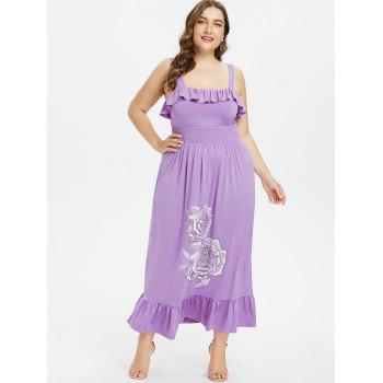 Plus Size Floral Smocked Waist Maxi Dress - PURPLE 5X