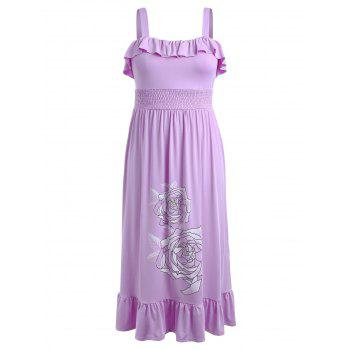 Plus Size Floral Smocked Waist Maxi Dress - PURPLE L