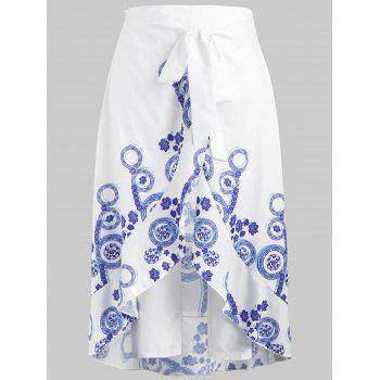 Plus Size Ruffle Skirt Pants - WHITE 2XL