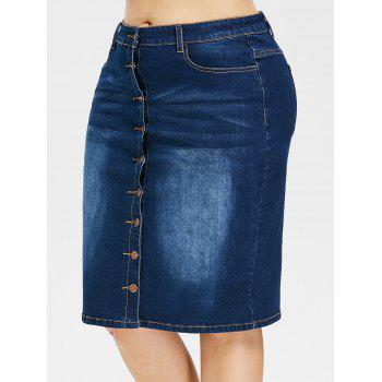 Plus Size Button Up Knee Length Denim Skirt - DEEP BLUE L