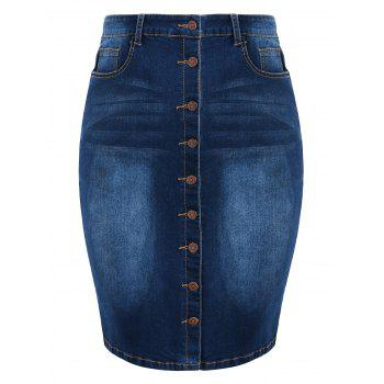 Plus Size Button Up Knee Length Denim Skirt - DEEP BLUE 3X
