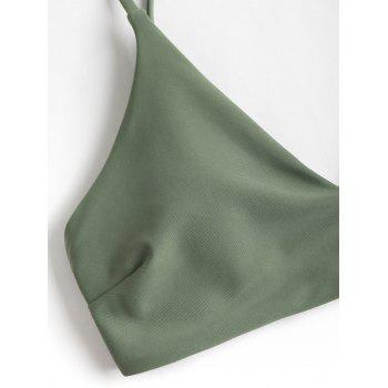 Padded Bra and Leaf Print Bottoms - CAMOUFLAGE GREEN L