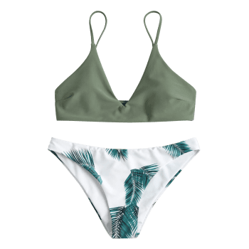 Padded Bra and Leaf Print Bottoms - CAMOUFLAGE GREEN S