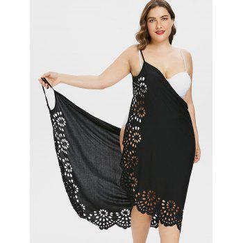 Plus Size Scalloped Cover Up Dress - BLACK 1X