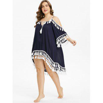 Plus Size Tie Front Tassel Cover Up Dress - DEEP BLUE L