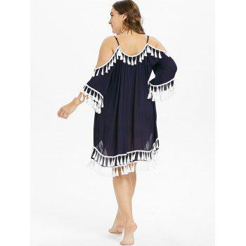 Plus Size Tie Front Tassel Cover Up Dress - DEEP BLUE 1X