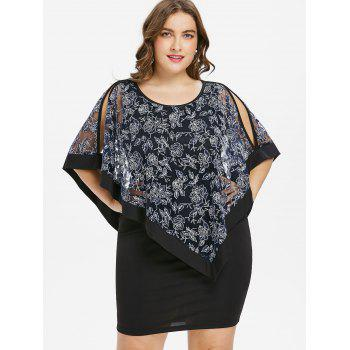 Plus Size Split Sleeve Capelet Fitted Dress - BLACK L