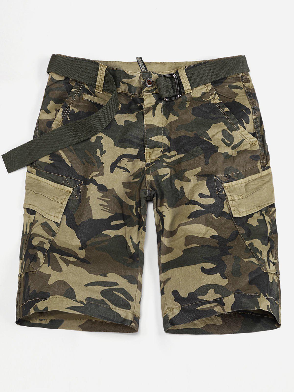 Camo Print Flap Pocket Cargo Shorts - DIGITAL DESERT CAMOUFLAGE XL