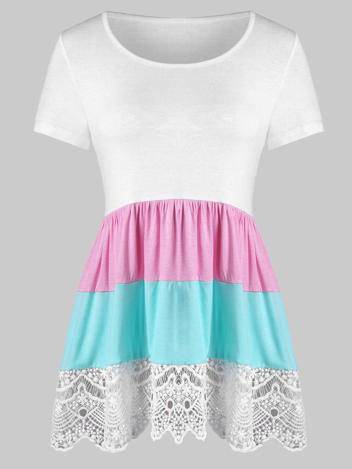 Color Block Lace Insert Flounce Tee - WHITE 2XL