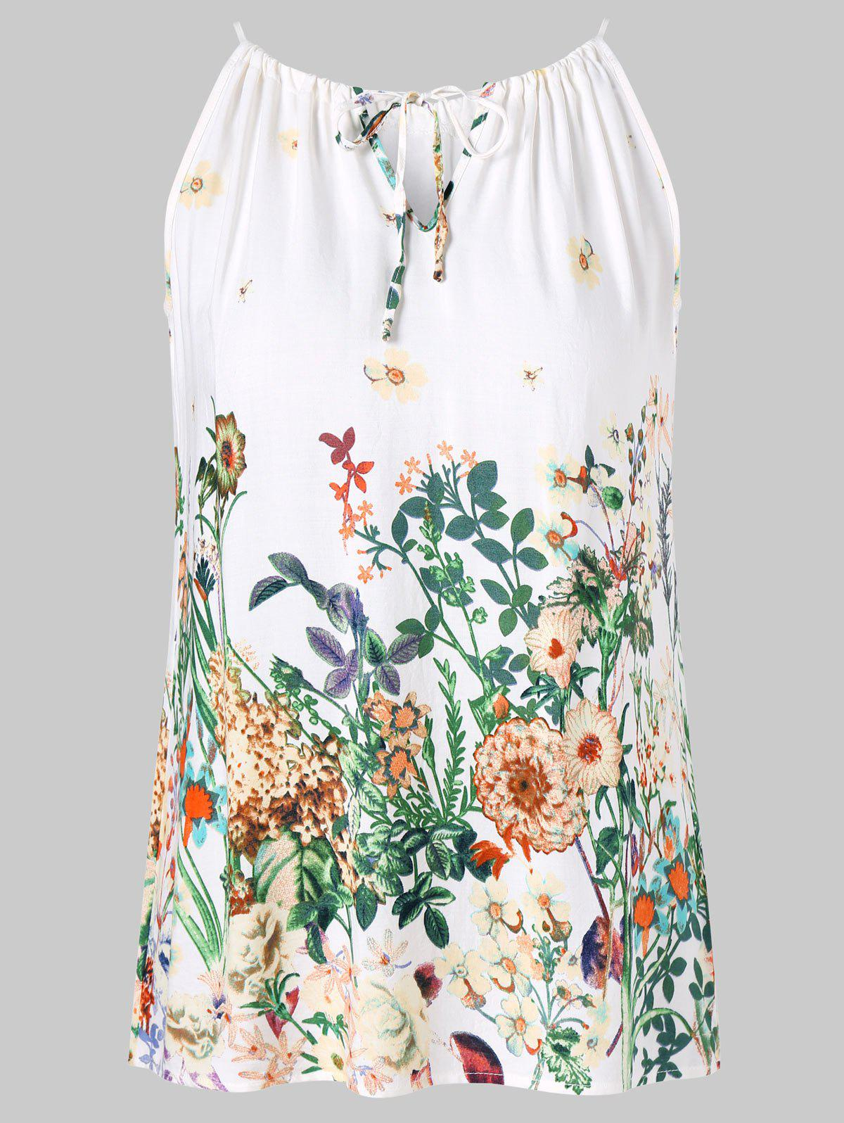 Keyhole Floral Cami Top - WHITE 2XL