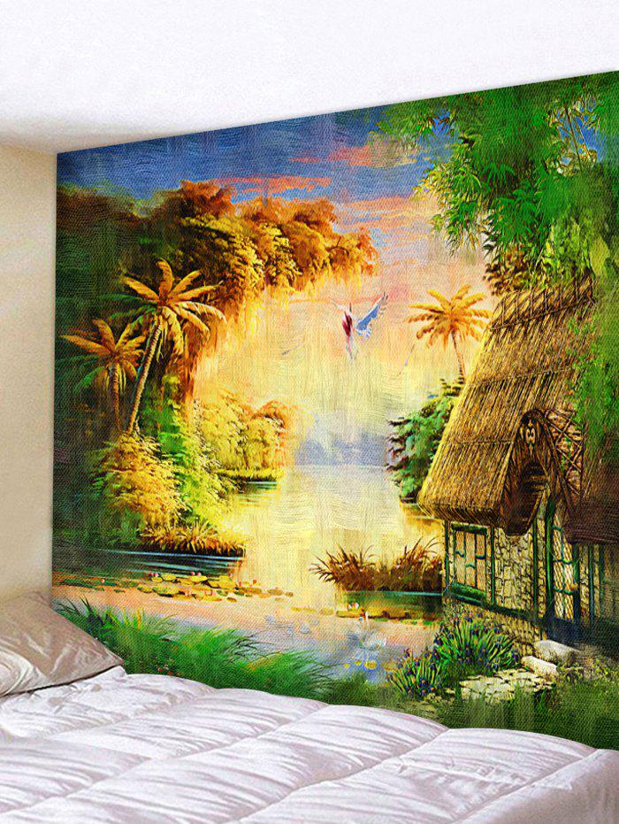 Forest Thatching Print Tapestry Wall Art - multicolor W59 INCH * L51 INCH