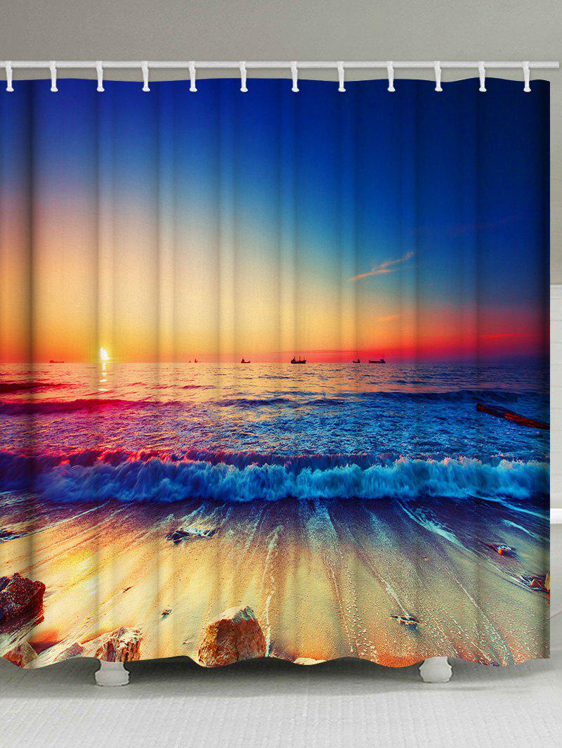 Sunset Ocean Wave Print Waterproof Shower Curtain - multicolor W71 INCH * L79 INCH