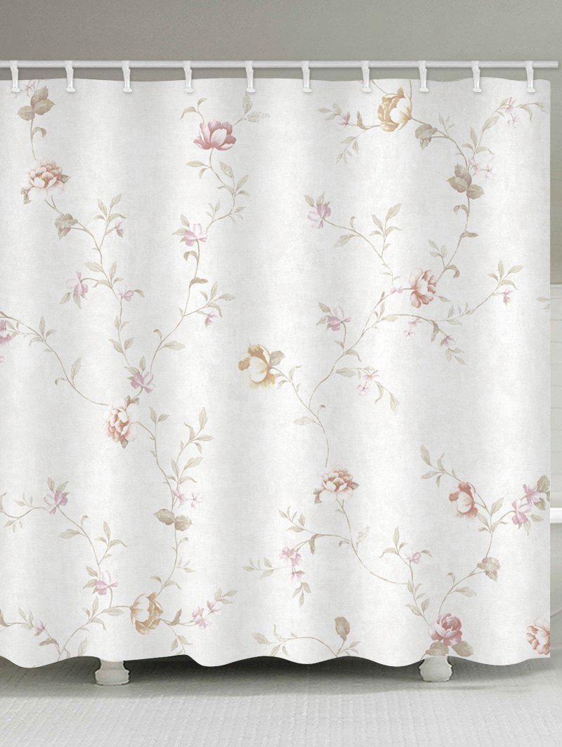 Floral Branch Print Waterproof Shower Curtain - WHITE W59 INCH * L71 INCH