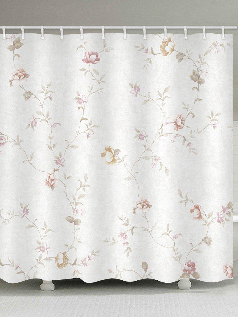 Floral Branch Print Waterproof Shower Curtain - WHITE W71 INCH * L79 INCH