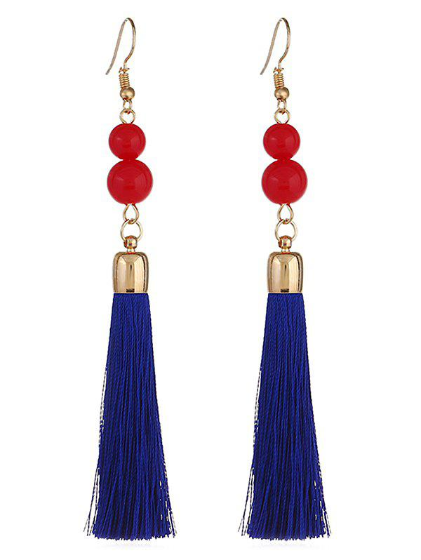 Beads Hanging Tassel Dangle Earrings - BLUE