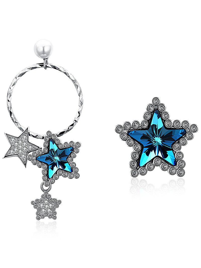 Asymmetric Rhinestone Crystal Star Decorative Dangle Stud Earrings - BLUE