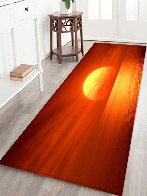 Sea Sunrise Clouds Print Antislip Floor Rug - SHOCKING ORANGE W16 INCH * L47 INCH
