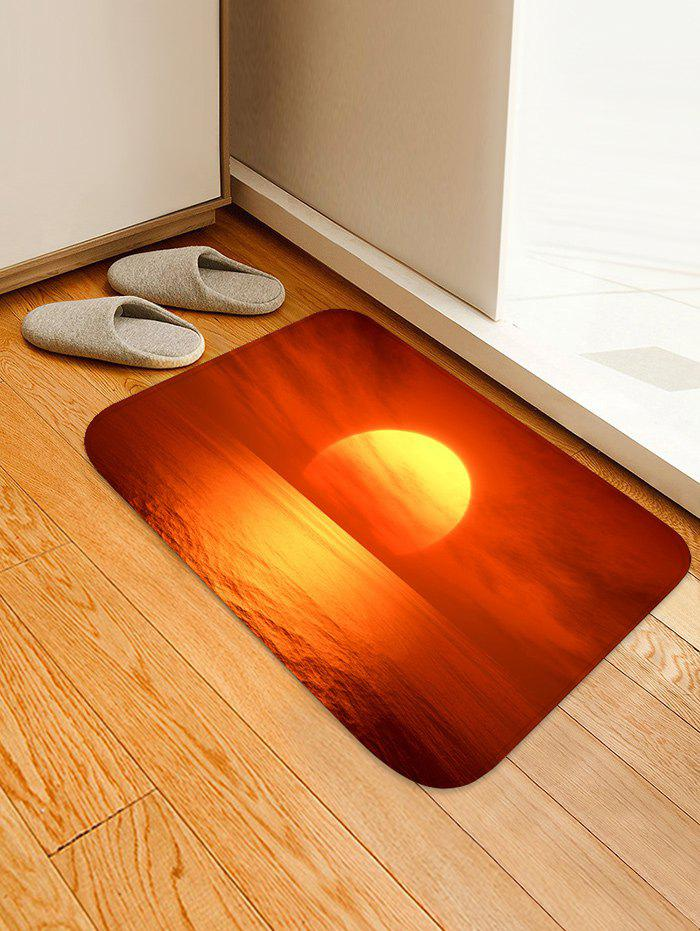 Sea Sunrise Clouds Print Antislip Floor Rug - SHOCKING ORANGE W20 INCH * L31.5 INCH