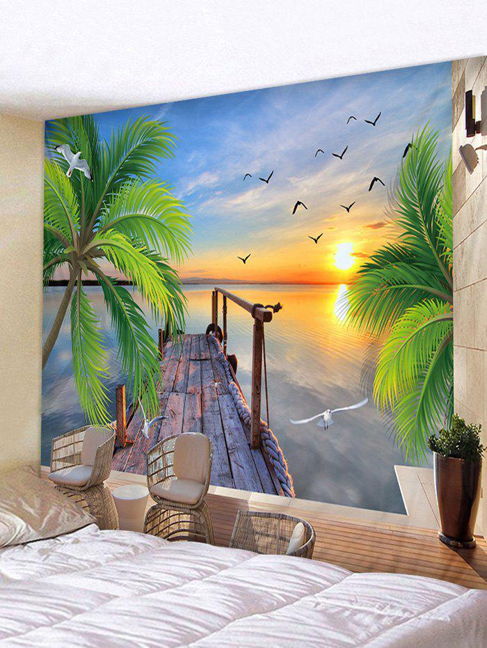 Wood Bridge Sea Sunset Print Wall Hanging Tapestry - STEEL BLUE W59 INCH * L51 INCH