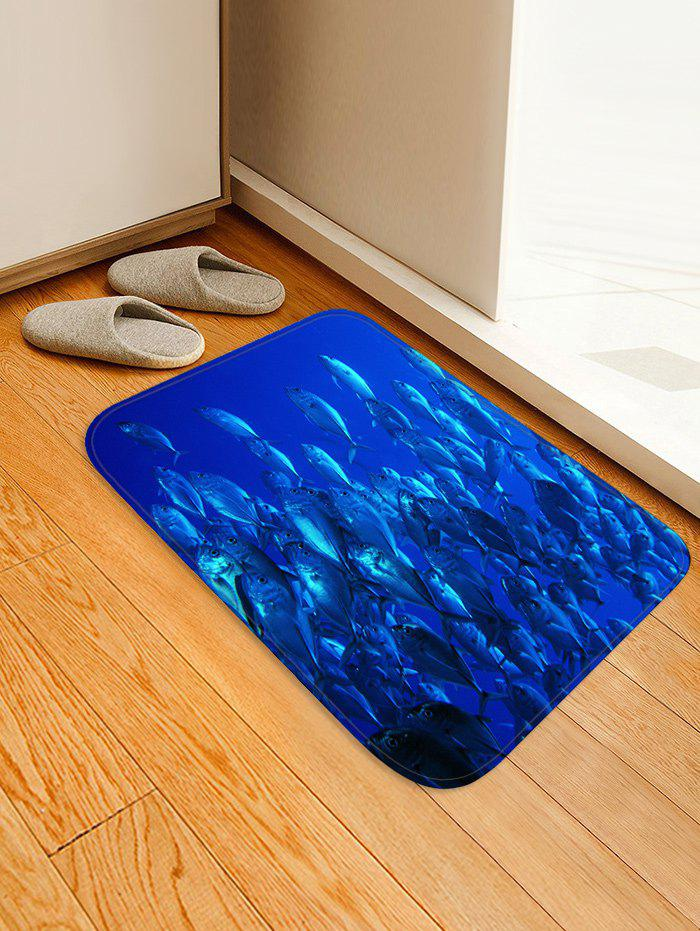 Deep-sea Fish Print Area Rugs Floor Mat - SAPPHIRE BLUE W16 INCH * L24 INCH