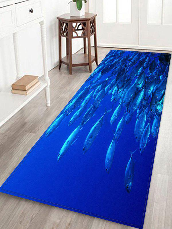 Deep-sea Fish Print Area Rugs Floor Mat - SAPPHIRE BLUE W16 INCH * L47 INCH