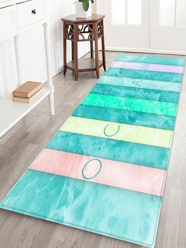 Colorful Letter Sea Wave Print Floor Rug - GLACIAL BLUE ICE W24 INCH * L71 INCH