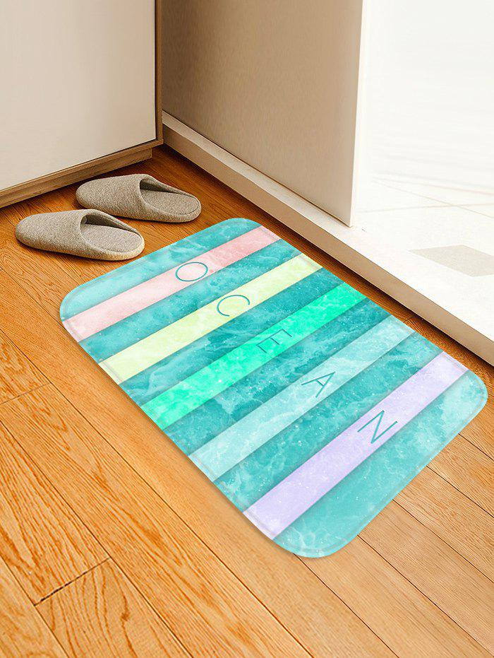 Colorful Letter Sea Wave Print Floor Rug - GLACIAL BLUE ICE W16 INCH * L24 INCH