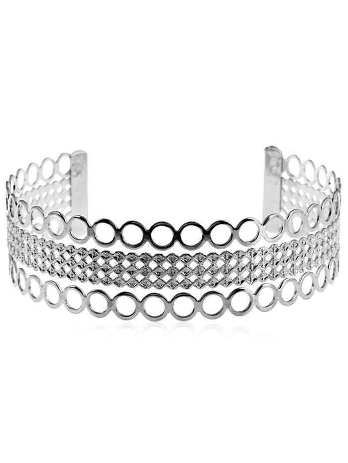 Round Geometric Shape Cuff Neck Choker Collar Necklace - SILVER