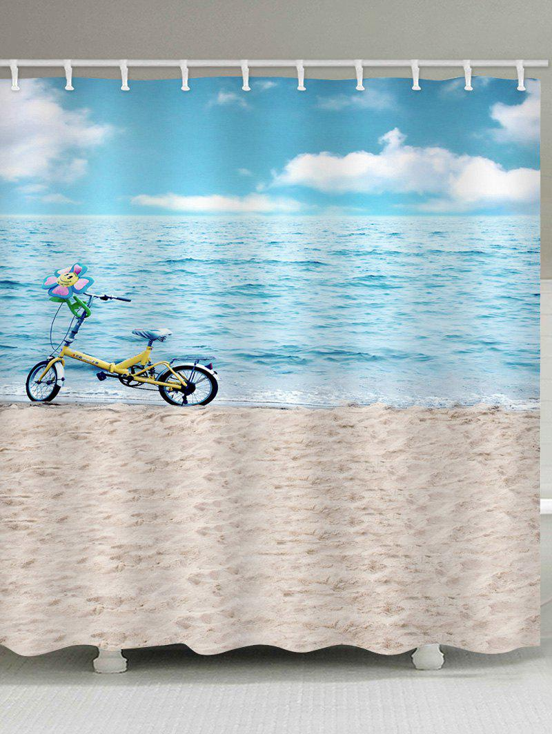 Sea-side Beach Scenery Bicycle Printed Waterproof Bath Curtain - multicolor W59 INCH * L71 INCH