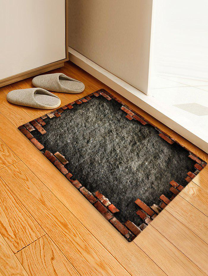 Antiskid Broken Briack Wall Printed Area Rug - GRAY DOLPHIN W20 INCH * L31.5 INCH