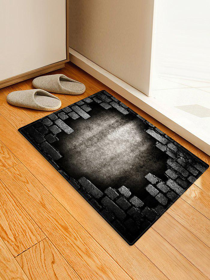 Broken Bricks Wall Printed Antiskid Area Rug - GRAY WOLF W16 INCH * L24 INCH