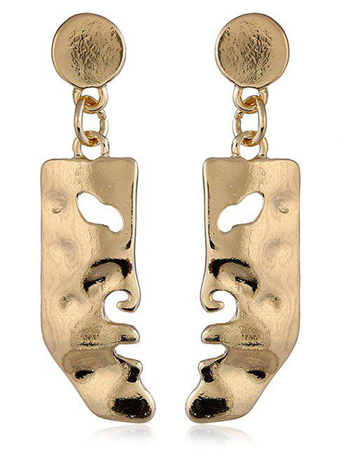 Face Shaped Solid Hanging Earrings - GOLD