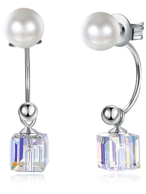 Faux Pearl Square Party Wedding Dangle Earrings - SILVER
