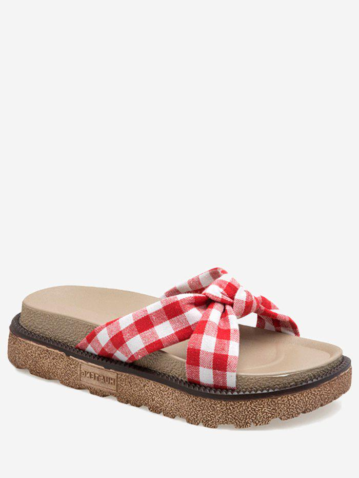 Casual Bow Crisscross Plaid Platform Slides - RED 35