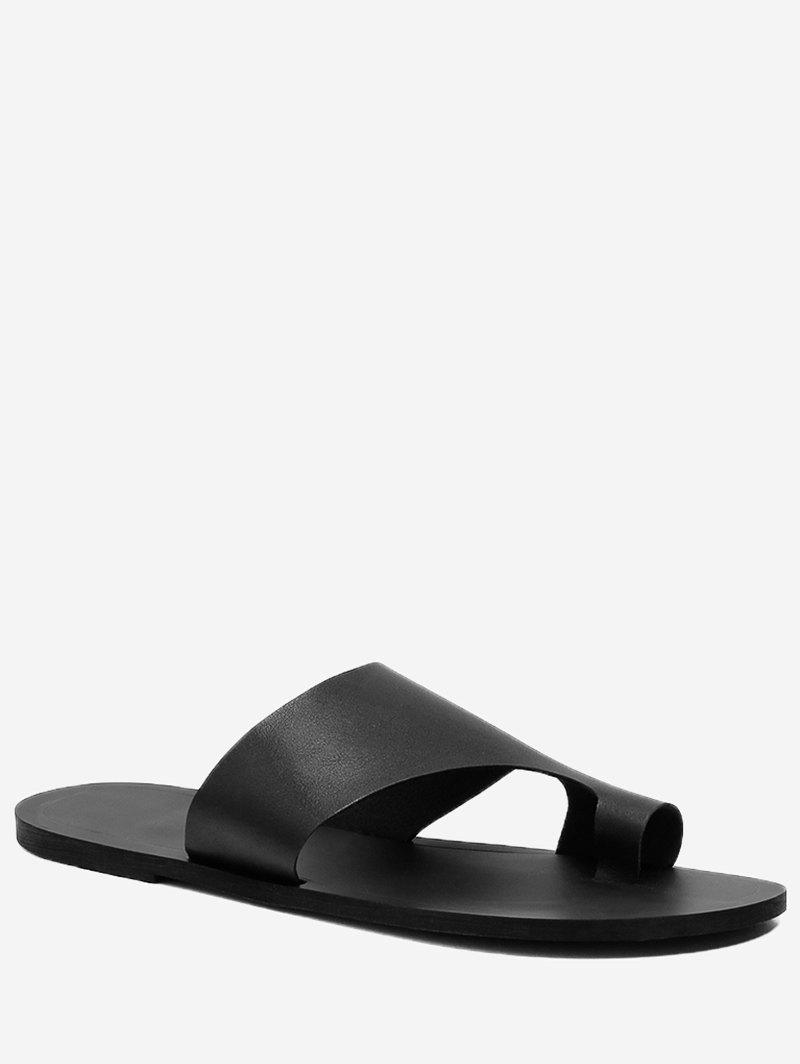 Solid Casual Holiday Slip On Slides - BLACK 38