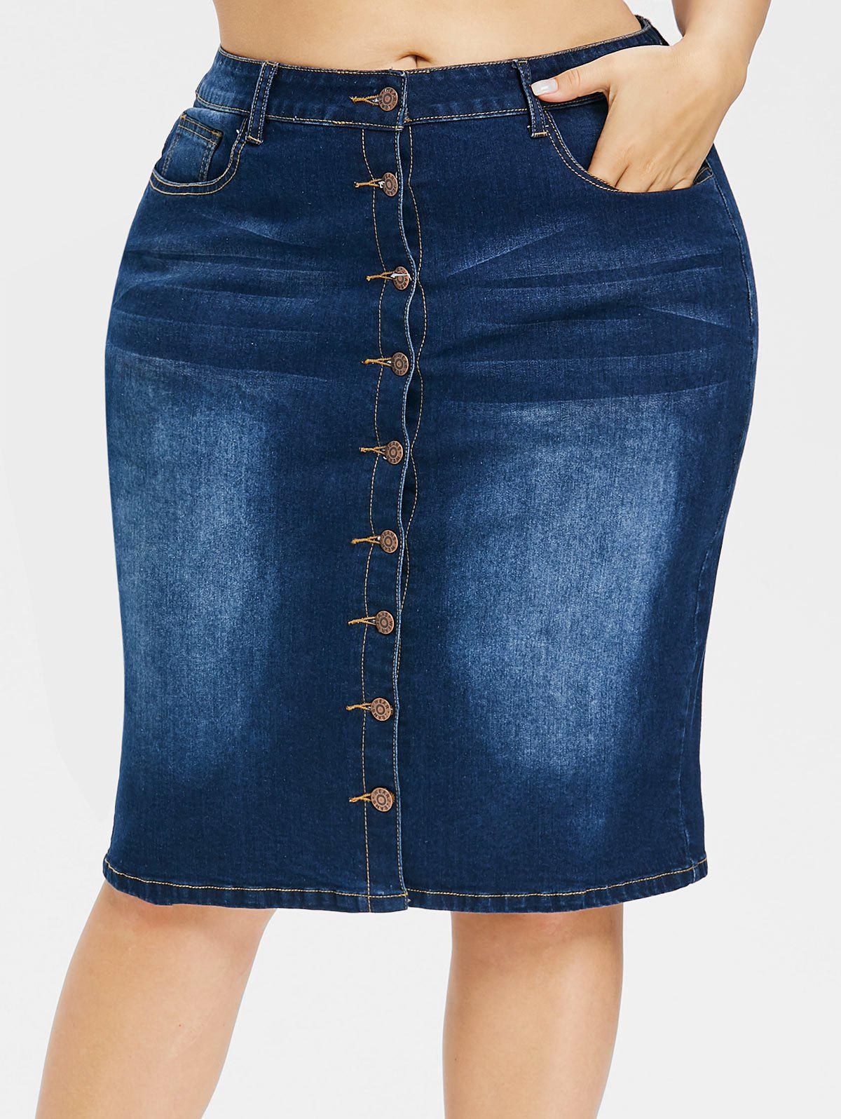 Plus Size Button Up Knee Length Denim Skirt - DEEP BLUE 1X
