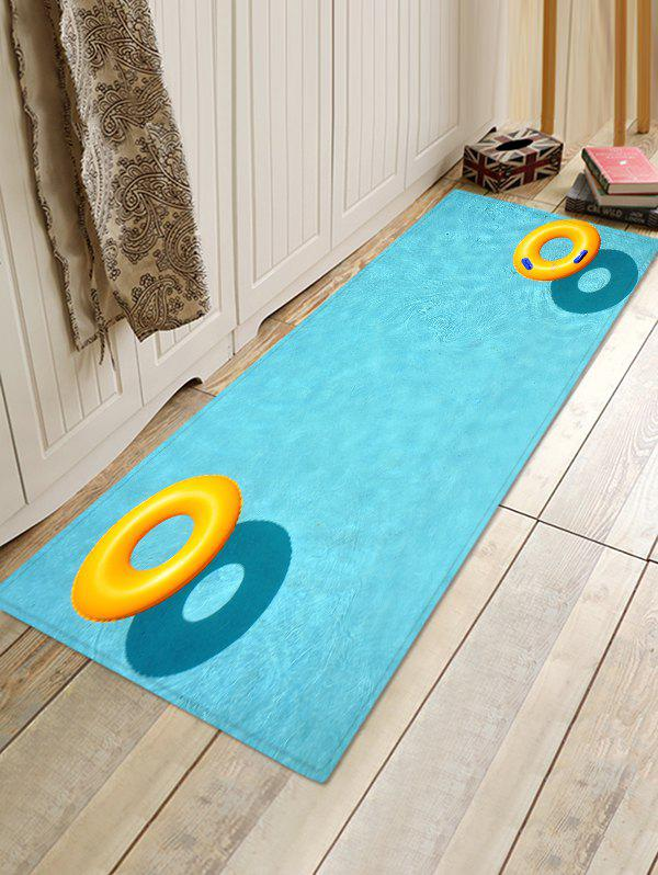 Swimming Pool Ring Non Slip Print Floor Rug - CRYSTAL BLUE W16 INCH * L47 INCH