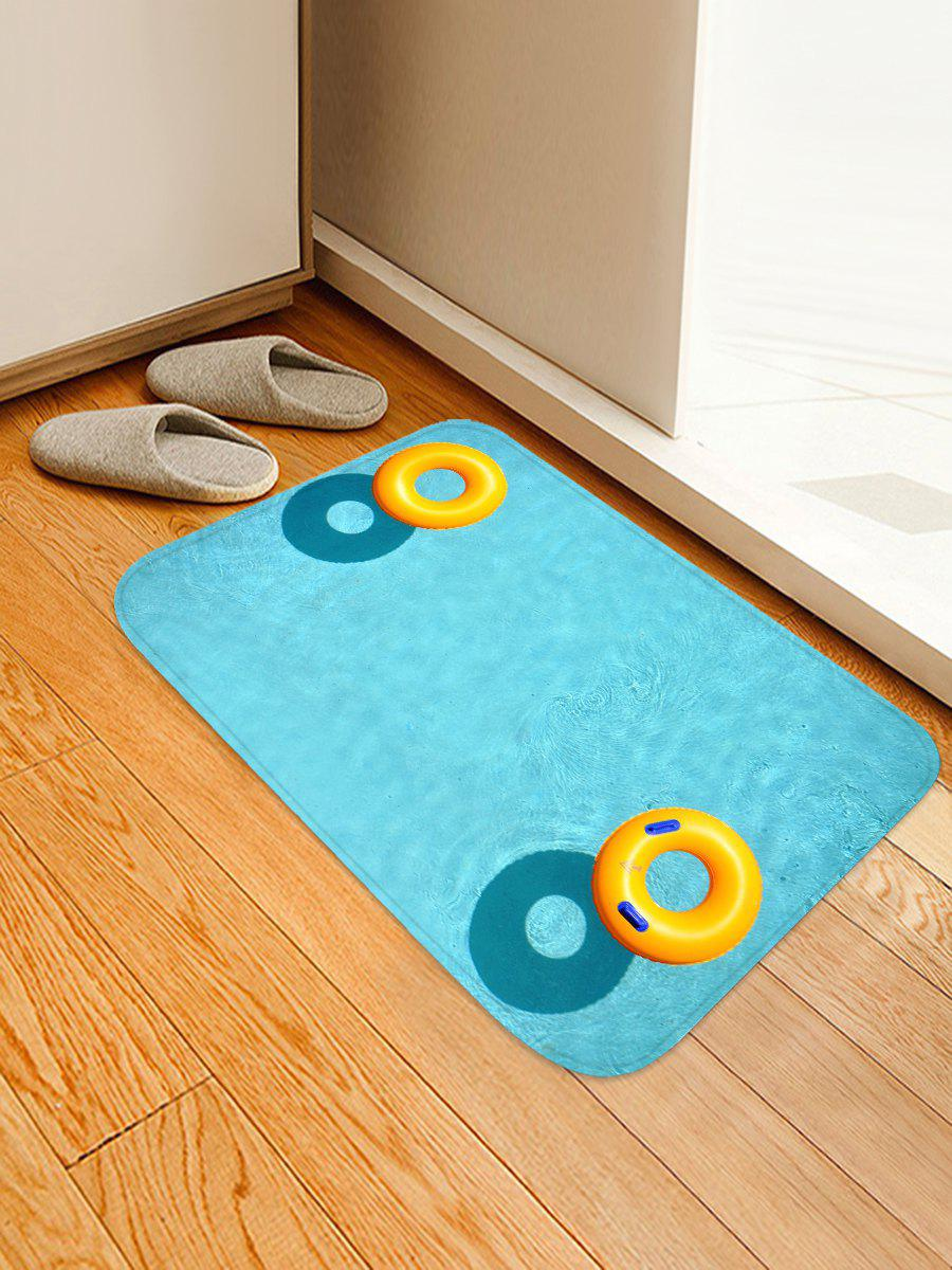 Swimming Pool Ring Non Slip Print Floor Rug - CRYSTAL BLUE W16 INCH * L24 INCH