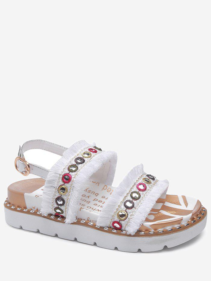 Color Block Eyelets Frayed Edge Buckle Strap Sandals - WHITE 36