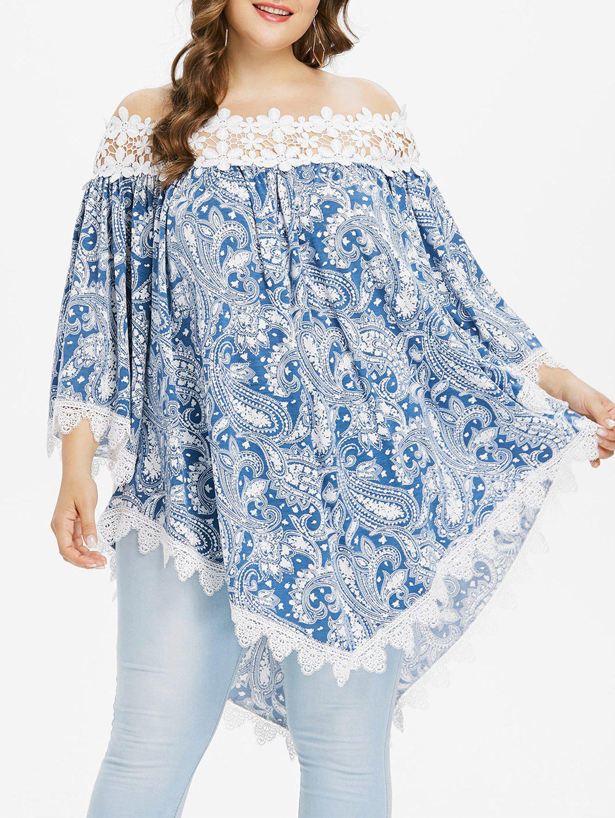 Plus Size Paisley Off Shoulder Bohemian Blouse