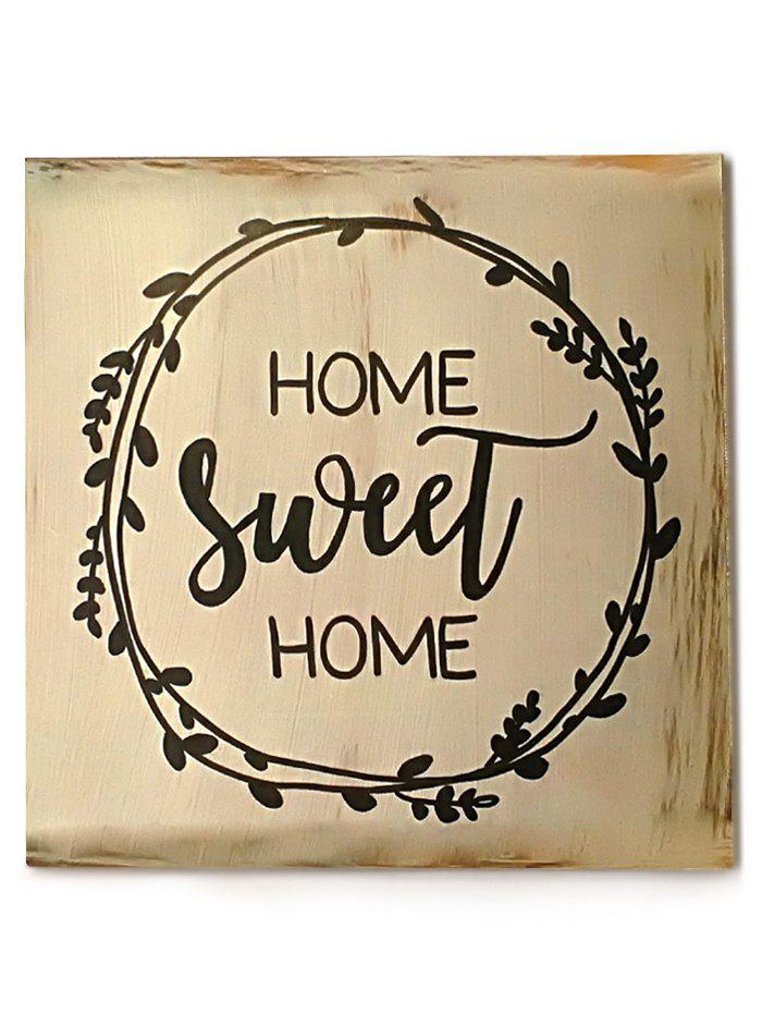 Wooden Engraved Sweet Home Sign Decoration - CORNSILK