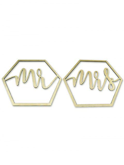 Hexagon Mr and Mrs Chair Signs Wooden Wedding Decoration - CORNSILK